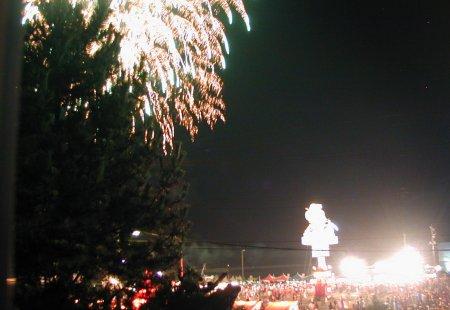 燈篭山と花火
