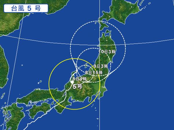 08/08 台風5号の進路